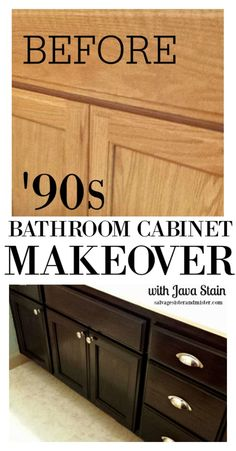 DIY Bathroom Cabinet Makeover - Goodbye Honey cabinets - Salvage Sister and Mister Cheap Bathroom Vanities, Oak Bathroom Vanity, Bathroom Vanity Makeover, Cheap Bathrooms, Diy Bathroom Remodel, Cabinet Makeover, Bathroom Ideas, Updating Oak Cabinets, Staining Oak Cabinets