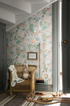 nursery room with wallpaper