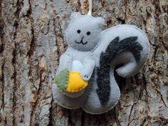 Black Squirrel Felt Ornament Squirrel with Heart Valentines