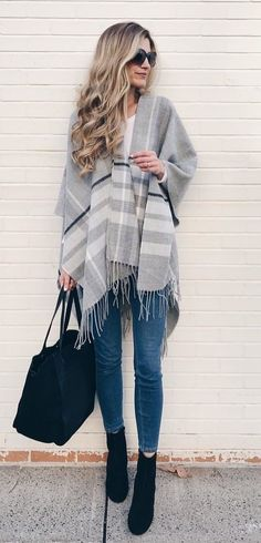 #fall #outfits women's gray and white poncho. Click To Shop This Look.