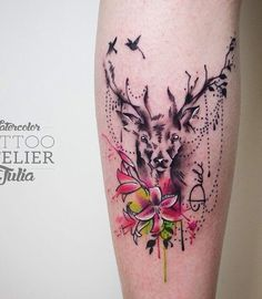 Deer are also one of the symbols of intelligence as well as love and peace. Alongside delicate flowers, it can show the quiet part of yourself.