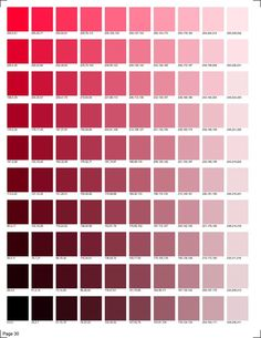 30 pages of RGB codes ready to print for color matching in smooth transitions. Pms Color Chart, Pantone Color Chart, Pms Colour, Colour Red, Colour Pallette, Color Palate, Rgb Color Codes, Color Palette Challenge, Photoshop Design
