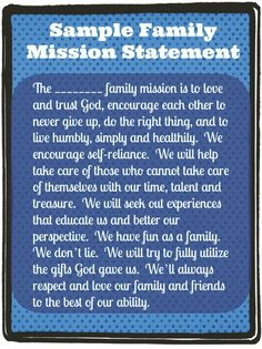 Sample Family Mission Statement: Instructions on how to do it and templates…