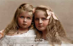 "Princesses Maria ""Mignon"" and Elisabeta of Romania, future Queens of Yugoslavia and Greece.  Originally black and white image coloured by me..."