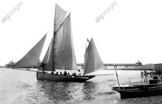 Brighton, the tourist beach-yawl 'Skylark' sets sail, 1902, The Francis Frith Collection