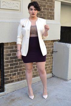 Nadia Aboulhosn-gold Sorella Swimwear swimsuit as top (she cut off the sash); cream vintage blazer (similar); plum skirt; patent pointy tan heels- Love this girl!