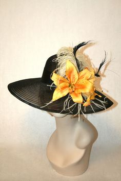Black horse hair kentucky derby hat with yellow lilies. $199