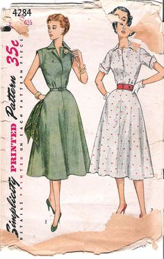 1950's Simplicity 4258 Dress with Fitted Bodice, Vintage Sewing Pattern, offered on Etsy by GrandmaMadeWithLove