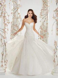 Sophia Tolli - Y11407 – Catelyn - Strapless organza wedding dress with chapel train, float down the aisle in captivating strapless fantasy organza and lace modified A-line gown Catelyn.