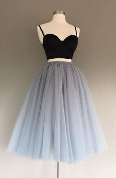 Two-Piece Gray Prom Dress,Tulle Short Homecoming Dress,Charming A-Line Graduation Dress,CHeap Homecoming Dress,Cute Mini Prom Dress,Sweet 16 Dress,Spaghetti Straps Homecoming Dress,Homecoming Dress Two-piece Dresses, dress, clothe, women's fashion, outfit inspiration, pretty clothes, shoes, bags and accessories