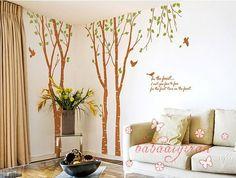 3 Birch Tree with Birds, Vinyl Wall Sticker,Wall Decal Murals Home Decors Art
