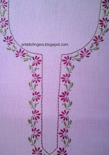 Kurta top with lazy daisy flowers my embroidery creations artisticfingers surface embroidery dt1010fo