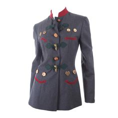 80s Moschino German Bavarian Style Jacket   From a collection of rare vintage jackets at https://www.1stdibs.com/fashion/clothing/jackets/