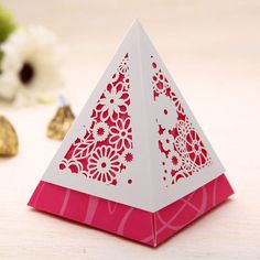 30pcs PINK Conical Prismatic Style Wedding Candy Favor Boxes,Romantic Wedding Gift Boxes,Craft Candy Boxes,Party Favor Box,Chocolate Boxes