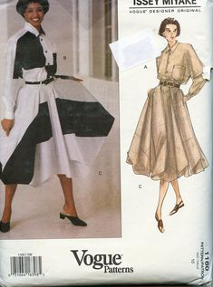 Vogue 1160 Issey Miyake TOP & SKIRT PATTERN Vogue Designer Original Womens Sewing Patterns 32 33 Bust, Size 10 UNCuT