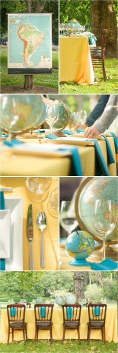 wedding colors: Teal and yellow with a Travel theme. Like!