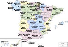 Nombres más comunes de hombres y mujeres en España por provincia de residencia (datos del conjunto de la población). Mapa original de D-maps