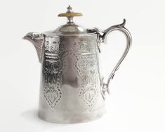 Antique silver plated hot water jug with lid, elaborately engraved in formal pattern, Victorian, by CardCurios on Etsy Vintage High Tea, Silver Water, New Farm, Home Decor Items, Decorative Items, Antique Silver, Tea Pots, Plating, Victorian