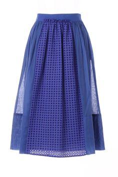 M-Missoni - BLUE EYELET BELOW-THE-KNEE SKIRT