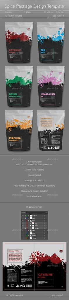 Spice Package Design - Packaging Print Templates.Download here: http://graphicriver.net/item/spice-package-design/16064603?ref=arroganttype