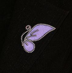 Purple Butterfly original designer zipper and felt by 3latna, $8.00