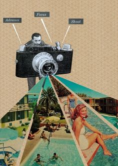 "Inspiration for ""The Photographer's Son"" illustration Collage artist Sammy Slabbinck is like a director, placing found imagery from Mid-Century advertisements in a contemporary context. Collage Foto, Collage Kunst, Art Du Collage, Collage Artists, Pic Collage Ideas, Photo Collage Design, Poster Collage, Family Collage, Art Collages"