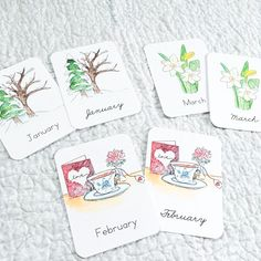 Months of the Year Flashcards - Green Urban Mama Creative Montessori, Latin Language, French Language, April Rain, Valentines Watercolor, Snowy Trees, Print Fonts, Watercolor Sketch, Months In A Year