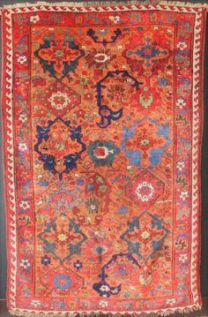 "Early Sauj Bulagh Kurd 4'8"" x 7'3""/ 142 x 221cm. See Jim Burns 'Antique rugs of Kurdistan' and Dennis"
