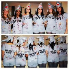 creative shark week girls group costume