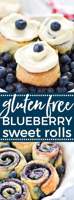 Gluten Free Blueberry Sweet Rolls - perfect for brunch! These Gluten Free Blueberry Sweet Rolls are perfect for Spring brunch. Don't skip the cream cheese icing! Gluten Free Recipes For Breakfast, Gluten Free Sweets, Gluten Free Breakfasts, Gluten Free Cooking, Brunch Recipes, Dessert Recipes, Bread Recipes, Cake Recipes, Gf Recipes