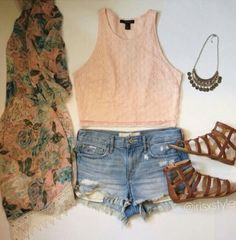 Summer outfit with crop top and kimono