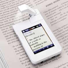 This is the pocket-sized scanner that instantly looks up and displays word definitions. Eliminating the need to thumb through large books or type entries, the device slides easily over reading material, its integrated flip-up camera scans any word with the touch of a button, and definitions are instantaneously displayed on its screen.