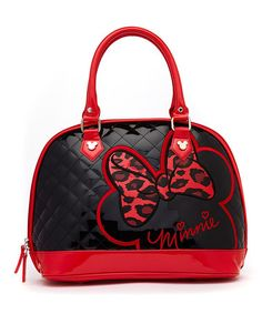 Another great find on #zulily! Red & Black Minnie Mouse Quilted Satchel #zulilyfinds