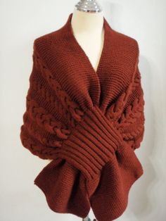 cable knit wrap bow sweater