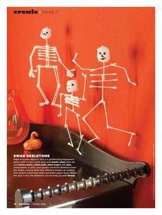 swab skeleton craft ~ halloween or pirate party decor ~ family fun ~cotton balls, q-tips, hot glue Halloween Skeletons, Holidays Halloween, Halloween Themes, Halloween Crafts, Holiday Crafts, Holiday Fun, Halloween Decorations, Halloween Carnival, Halloween 2017