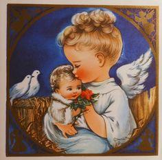 1950s Charlot Byj angel & Baby Jesus Christmas card