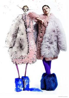 Double, Double--The November issue of Fashion Magazine takes a look at autumn-winter furs with this colorful shoot starring Kelly Mittendorf.