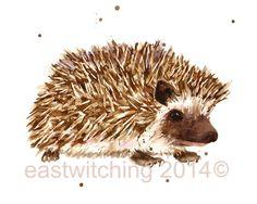 Watercolor HEDGEHOG print, hedgehog painting, kids wall art, 8x10 print, animals £15.00