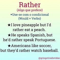 """Podem também usar """"Prefer,"""" mas acho que """"Rather"""" é bem mais comum! Alguém já ouviu a canção """"Rather be"""" na rádio? Querem formar uma frase noa comentários? Let's go! #English #Inglês #ESL #DicasDeInglês #Professor #TOEFL #EnglishTips #Rio #Brasil #SãoPaulo #Angola #Luanda #Lisboa #Portugal #Futebol #Palmeiras #Fluminense"""