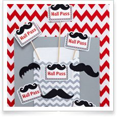 Mustache Mania and Chevron Classroom Display Idea with Name Tags, Mustache Cut-Outs, and Slate Gray Chevron Library Pockets Chevron Classroom, Library Pockets, Hall Pass, Gray Chevron, Classroom Displays, Cut Outs, Mustache, Slate, Conference