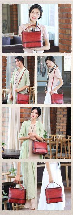 Vintage Handmade Leather Satchel Bag, Women Handbags A0157