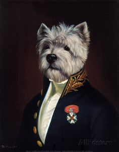 Thierry Poncelet - The Officer's Mess. (Anthropomorphic dog art) Plus West Highland Terrier, White Terrier, Dog Paintings, Dog Portraits, Westies, Westie Dog, Pet Clothes, Dog Art, Fine Art Prints