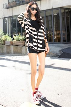 Casual stripey cardigan with shorts and sneakers