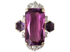 Vintage 21.82 ct Amethyst and 1.59 ct Diamond, 18 ct Yellow Gold Dress Ring