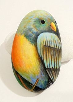 Hand Painted Bird Portrait on Stone by lolita