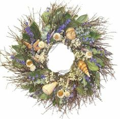 Bring back memories of the seashore with the 22 Inch Kennebunkport Shore Wreath Designed from straw flowers, pearly everlasting, huckleberry twigs,. Coastal Wreath, Seashell Wreath, Nautical Wreath, Coastal Decor, Floral Wreath, Coastal Cottage, Dried Flower Wreaths, Dried Flowers, Dried Eucalyptus