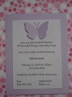 Butterfly Baby Shower invitations/Birth by stampingblock on Etsy, $16.00