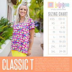 LuLaRoe Classic T Size Chart. Shop now: www.facebook.com/groups/LuLaRoeJenny/.