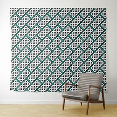 Elegant Teal and White Celtic Knot Pattern Tapestry - pattern sample design template diy cyo customize