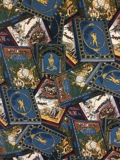 2 yards x 40 wide --- A perfect fabric for avid readers who love travel and adventure. This is a soft apparel weight brushed or combed ? cotton (no synthetics - it could be a cotton/rayon blend) featuring an all over print of French adventure books - most prominent in the design is